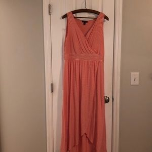 Lands End coral striped maxi dress in Large
